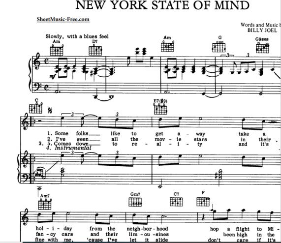 billy joel  new york state of mind free sheet music pdf
