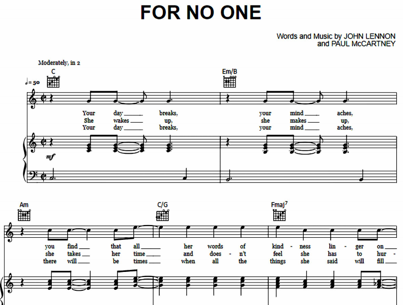 The Beatles - For No One