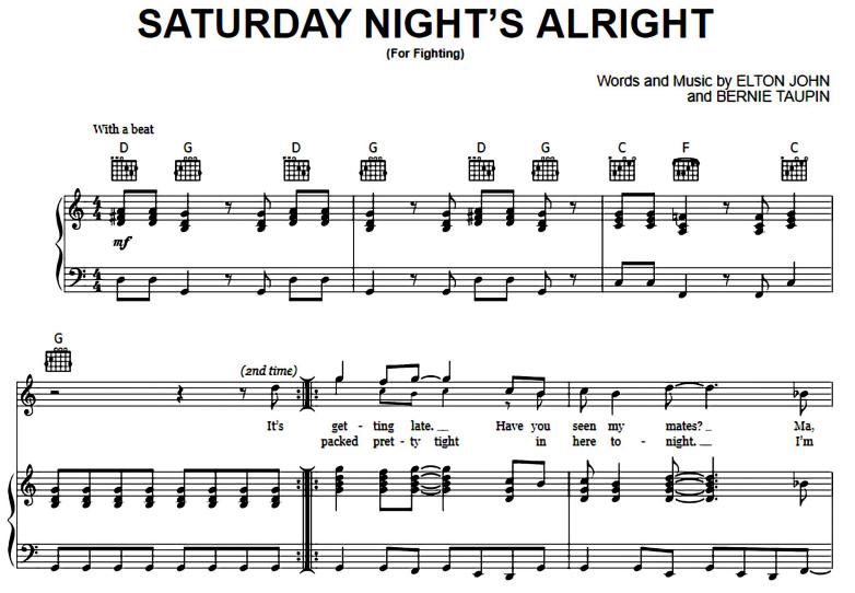 Elton John-Saturday Night's Alright For Fighting